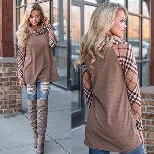 Cowl Neck Contrast Plaid Check Tunic Sweater Top